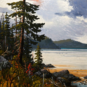 "SOLD ""Breaking Light, Pacific Rim,"" by Rod Charlesworth 36 x 36 – oil $4390 Unframed"