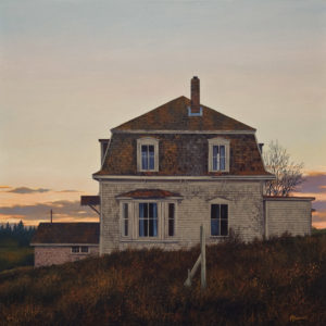 "SOLD ""Cape House,"" by Merv Brandel 24 x 24 – oil $3625 Unframed"