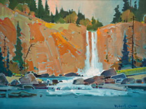 "SOLD ""Chilcotin Falls"" (2011), by Robert Genn 12 x 16 – acrylic $4550 Framed"
