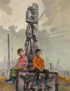 "SOLD ""Children of Moses Joe"" (1970), by Robert Genn 14 x 18 – oil $5500 Unframed"