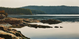 "SOLD ""Clam Bay,"" by Merv Brandel 24 x 48 – oil $5500 (artwork continues onto edges of wide canvas wrap)"