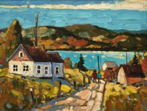 """SOLD """"Country Roads de l'Orleans,"""" by Rod Charlesworth 11 x 14 – oil $1460 Framed"""