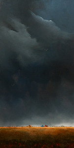 "SOLD ""The Darkened Sky No. 3,"" by Mark Fletcher 15 x 30 – acrylic $1925 Unframed"