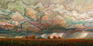"""Early Fall Rains,"" by Steve Coffey 24 x 48 - oil $3170 Unframed"