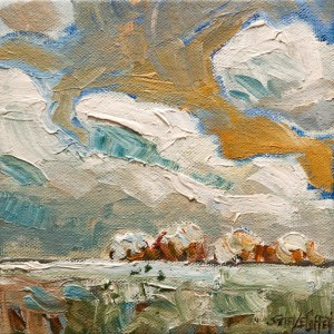 "SOLD ""Early Snow,"" by Steve Coffey 6 x 6 – oil $450 Unframed $600 Custom framed"