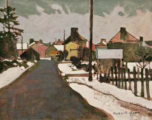 "SOLD ""Entrance to a French Village in January,"" by Robert Genn 11 x 14 – acrylic $3600 Unframed"