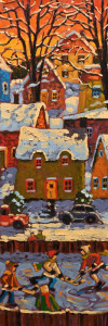 "SOLD ""Evening Light,"" by Rod Charlesworth 8 x 24 – oil $1465 Unframed"