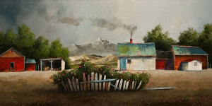 "SOLD ""The Forgotten Rose Hedge,"" by Mark Fletcher 15 x 30 – acrylic $1925 Unframed"