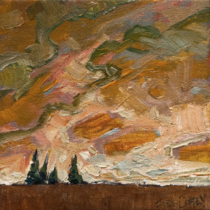"SOLD ""Four Trees in the Distance,"" by Steve Coffey 6 x 6 – oil $480 Unframed"
