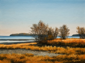 "SOLD ""Grassy Headlands,"" by Merv Brandel 9 x 12 – oil $820 Unframed $1050 Custom framed"