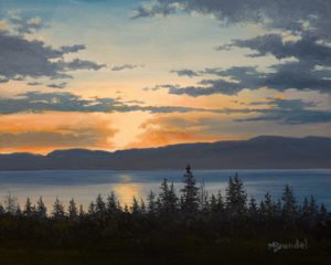 "SOLD ""Horizon Lines,"" by Merv Brandel 8 x 10 – oil $900 Unframed"