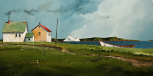 "SOLD ""Iceberg in May,"" by Mark Fletcher 15 x 30 – acrylic $1925 Unframed"