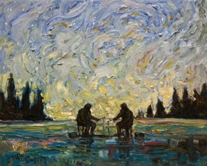 "SOLD ""Ice Fishing,"" by Steve Coffey 8 x 10 - oil $740 Unframed"