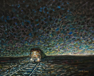 "SOLD ""Into the Night,"" by Steve Coffey 16 x 20 – oil $1585 Unframed"
