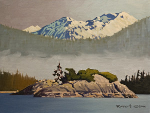 "SOLD ""Islet, Desolation Sound"" by Robert Genn 12 x 16 – oil $3900 Unframed"