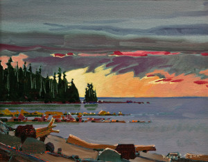 "SOLD ""Langara Late Light, Langara Island, Q.C.I.,"" by Robert Genn 11 x 14 – acrylic $3600 Unframed"