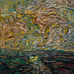 "SOLD ""Late Rain Drive,"" by Steve Coffey 8 x 8 – oil $640 (thick canvas wrap without frame)"