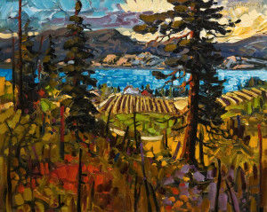 "SOLD ""Late Summer Vines, Okanagan,"" by Rod Charlesworth 16 x 20 – oil $1715 Unframed"