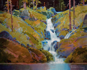 "SOLD ""Legend of Fairy Falls,"" by Robert Genn 16 x 20 – acrylic $6600 Unframed"