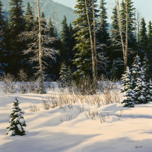 "SOLD ""Manning Park,"" by Merv Brandel 30 x 30 – oil $4875 Unframed"