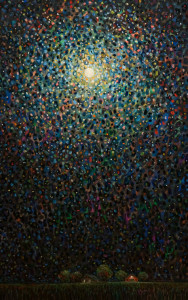"SOLD ""A Moonlit Farm,"" by Steve Coffey 30 x 48 – oil $3120 Unframed"