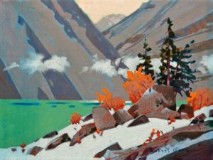 "SOLD ""Morning, Lake McArthur, Yoho National Park,"" by Robert Genn 12 x 16 – acrylic $4300 Unframed"