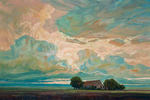 "SOLD ""Morning Light and Shack,"" by Steve Coffey 20 x 30 – oil $2000 Unframed"
