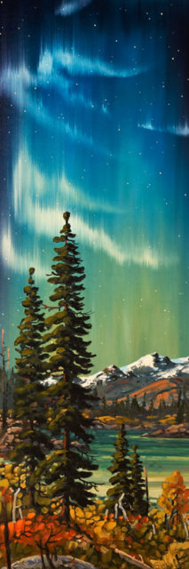 """Night Sky, Yukon,"" by Rod Charlesworth 16 x 48 - oil $3700 Unframed"