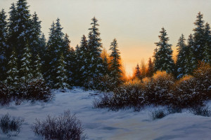 "SOLD ""November Sunrise,"" by Merv Brandel 20 x 30 – oil $3700 Unframed"