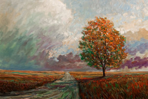 "SOLD ""Old Road and Tree,"" by Steve Coffey 24 x 36 – oil $2400 Unframed"