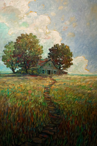 "SOLD ""Old Shelter,"" by Steve Coffey 24 x 36 – oil $2400 (thick canvas wrap without frame)"