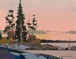 "SOLD ""Point, Scotty's Bay, Lake of the Woods"" (2008), by Robert Genn 14 x 18 – acrylic $6000 Unframed"