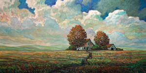 "SOLD ""Protect,"" by Steve Coffey 30 x 60 – oil $3420 (thick canvas wrap without frame)"