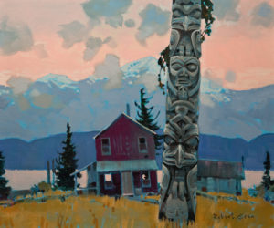 "SOLD ""The Purple House at Kitwanga, Skeena"" (circa 2011), by Robert Genn 20 x 24 – acrylic $8700 Unframed"