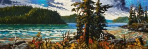 "SOLD ""Sheltered Coves Near Tofino,"" by Rod Charlesworth 12 x 36 – oil $2230 Unframed"