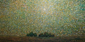"SOLD ""The Sky Breathing Light,"" by Steve Coffey 30 x 60 – oil $3600 (thick canvas wrap without frame)"