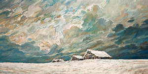 "SOLD ""Snow Covered Shacks,"" by Steve Coffey 24 x 48 – oil $2735 Unframed"