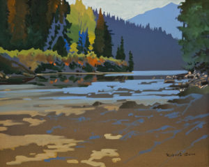 "SOLD ""Squamish River, Near Whistler, B.C.,"" by Robert Genn 16 x 20 – acrylic $7300 Unframed"