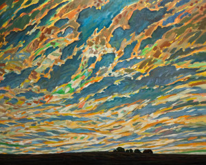 "SOLD ""Summer Sky Over Farmhouse,"" by Steve Coffey 48 x 60 – oil $4320 (thick canvas wrap without frame)"