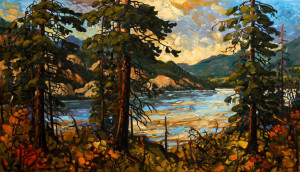 "SOLD ""Thompson River,"" by Rod Charlesworth 24 x 42 – oil $3600 Unframed"