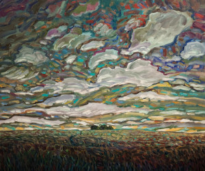 "SOLD ""Trail to Trees and Late Sky,"" by Steve Coffey 30 x 36 – oil $2640 (thick canvas wrap without frame)"