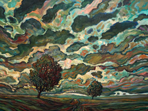 "SOLD ""Two Trees,"" by Steve Coffey 36 x 48 – oil $3360 (thick canvas  wrap without frame)"