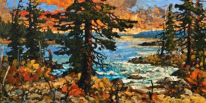 "SOLD ""Ucluelet in Late Light,"" by Rod Charlesworth 12 x 24 – oil $1715 Unframed"