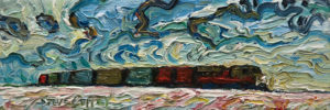 """A Winter Train,"" by Steve Coffey 3 x 9 - oil $500 Unframed"