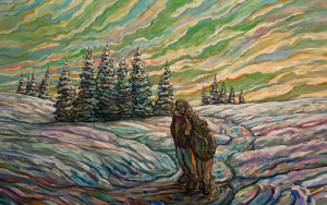 "SOLD ""The Winter Walk,"" by Steve Coffey 30 x 48 – oil $3120 Unframed"