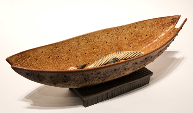 """Bone Boat with Cargo"" (LR-160) by Laurie Rolland hand-built ceramic - 18"" (L) x 5 1/2"" (H) $550"
