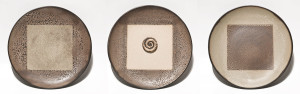 "SOLD ""Continuum Plates"" (LR-178) by Laurie Rolland hand-built ceramic – 11"" (diameter each) $350 (set)"