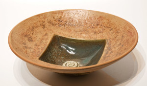 "SOLD Circle Square Bowl (LR-179) by Laurie Rolland hand-built ceramic – 11"" (diameter) x 3 1/2 (H)"" $160"