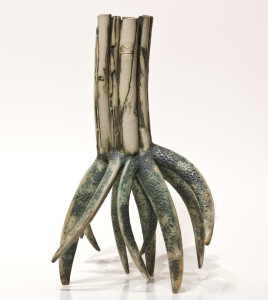 "SOLD Root Vessel (LR-184) by Laurie Rolland hand-built ceramic – 15"" (H) $800"