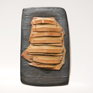"SOLD ""Letter to Athena"" (LR-202) by Laurie Rolland hand-built ceramic – 6"" x 9"" x 1 1/2"" $125"